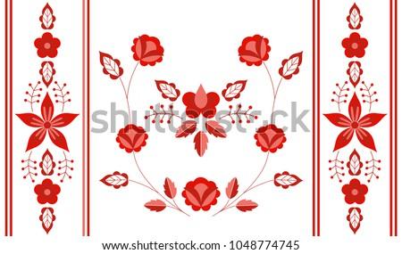 Polish folk art vector floral design - Zalipie decorative pattern with flowers and leaves - half  Stock photo © RedKoala