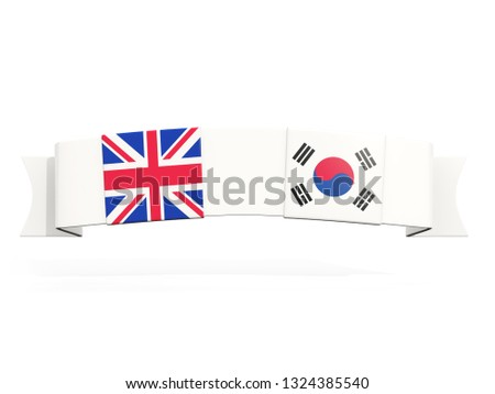 Banner with two square flags of United Kingdom and south korea Stock photo © MikhailMishchenko