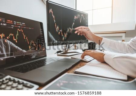Zespołu inwestycja przedsiębiorca analiza forex Zdjęcia stock © snowing