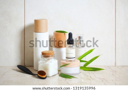 Face cream, serum, lotion, moisturizer and face oil among hydran Stock photo © dashapetrenko