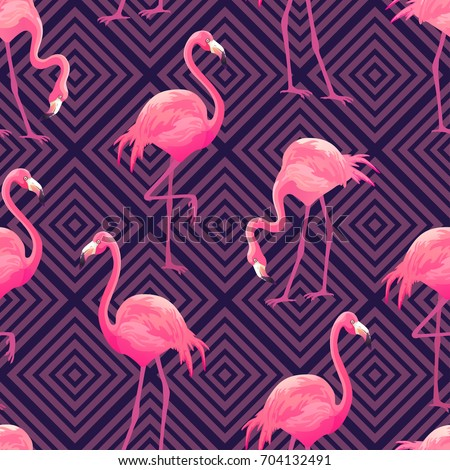 Seamless pattern with pink flamingo. Purple bird background. Good for textile, greeting card, t-shir stock photo © bonnie_cocos