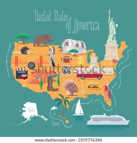Szett elemek amerikai kultúra üdvözlet USA vektor Stock fotó © Arkadivna
