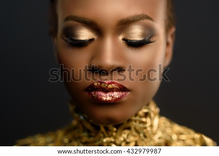 Beauty portrait of beautiful lady with bright makeup, gold,  fuchsia lips. , fashion, grooming. Styl stock photo © studiolucky