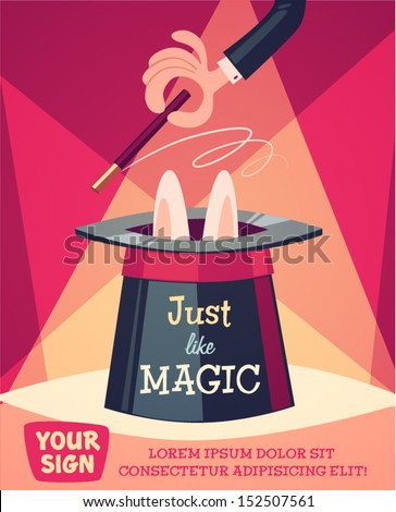 Vector banner with funny white rabbit, magic hat and wand. Trick with a rabbit out of a hat. Little  Stock photo © MarySan