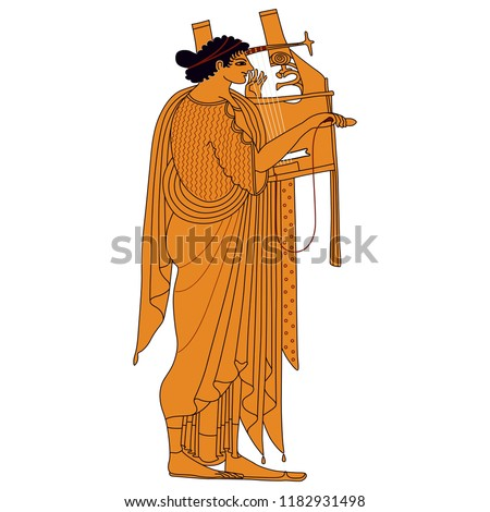 ancient lyre isolated on white background vector cartoon close up illustration stock photo © lady-luck