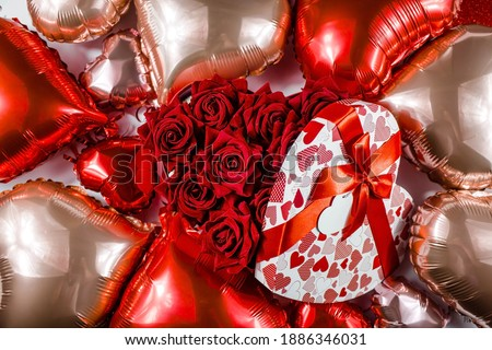 happy valentines day background balloon in form of heart with bow and ribbon and open red box vect stock photo © olehsvetiukha