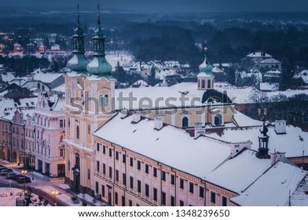 Szűz feltételezés templom fő- tér Csehország Stock fotó © benkrut