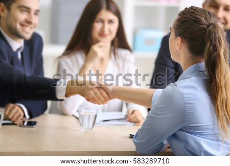Job applicant having interview. Business young candidate people  Foto stock © snowing