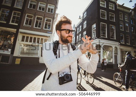 Happy photographer is taking a photo. Hashtag photographer concept. Flat vector illustration Stock photo © makyzz