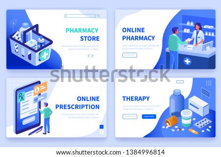 isometric flat vector landing page template of medical research stock photo © tarikvision