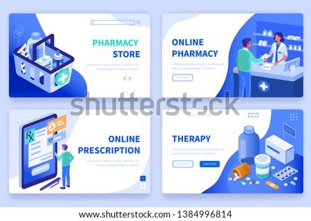 Vector aterrizaje página plantilla médicos Foto stock © TarikVision