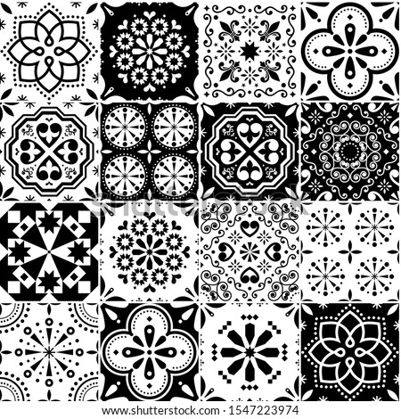 Lisbon Azujelo vector seamless tiles design - Portuguese retro pattern in turqouoise and yellow, til Stock photo © RedKoala