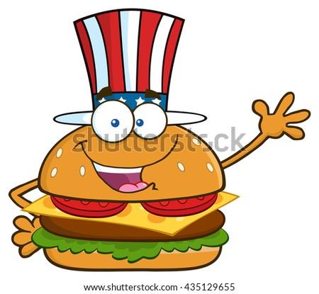 Americano hamburguesa patriótico sombrero Foto stock © hittoon