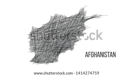 Drawing map of Afghanistan made out of lines. sketch illustration. Vector illustration isolated on w Stock photo © kyryloff
