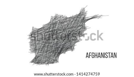 desenho · mapa · Afeganistão · fora · linhas · esboço - foto stock © kyryloff