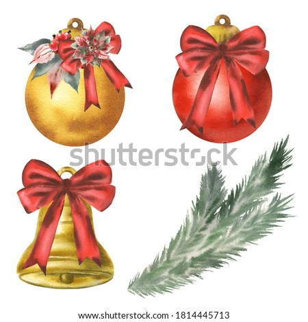 Golden watercolor christmas bells with red bow and spruce branches on white background Stock photo © Natalia_1947