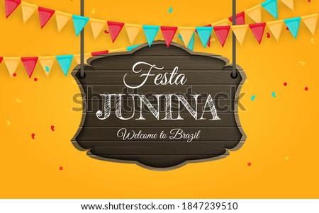 Festa Junina Traditional Brazil June Festival Design with Typography Letter on Vintage Wood Board. V Stock photo © articular