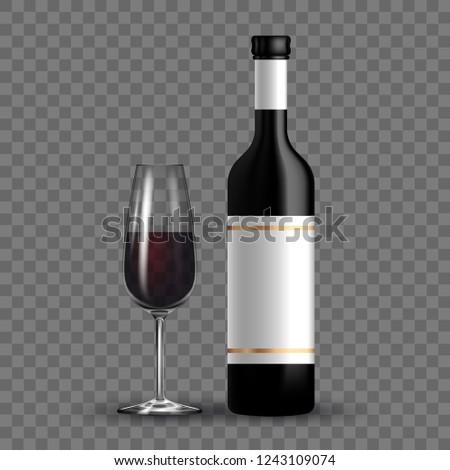 Bottiglia vino rosso vuota occhiali buio uve Foto d'archivio © DenisMArt