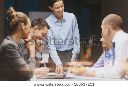 Stock photo: Business team colleagues discussing working with many document g