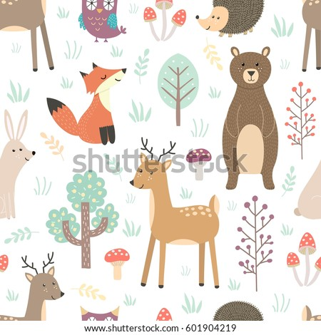 Photo stock: Forêt · animaux · mignons · Fox · cerfs · ours