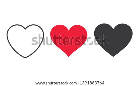 red heart icon isolated on white background set of love symbols stock photo © essl