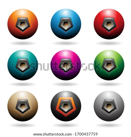 Colorful Embossed Sphere Loudspeaker Icons with Pentagon Shapes  Stock photo © cidepix
