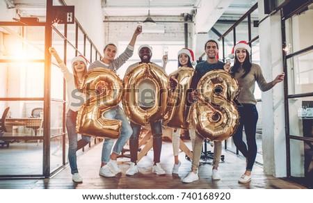 Vrolijk christmas gelukkig nieuwjaar jonge business team vieren Stockfoto © Freedomz