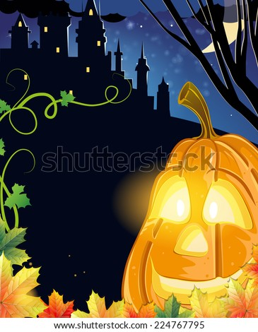 halloween jack o lantern scary pumpkin with a smile near candles and spider in green forest outdo stock photo © illia