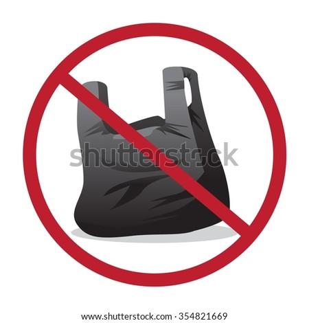 Plastic zak verboden uit icon geen Stockfoto © MarySan