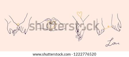 siluet · çift · el · ele · tutuşarak · vektör · gelin · damat - stok fotoğraf © frimufilms