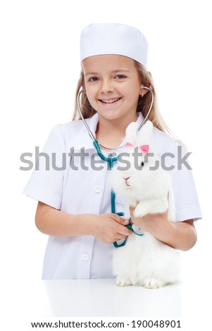 девочку · играет · ветеринарный · котенка · животного · ухода - Сток-фото © ilona75