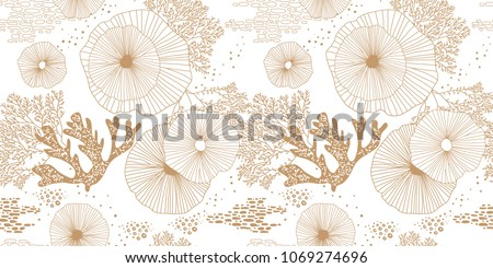 Vector seamless pattern with abstract corals. Embroidery. Background with colorful sea or ocean life Stock photo © user_10144511