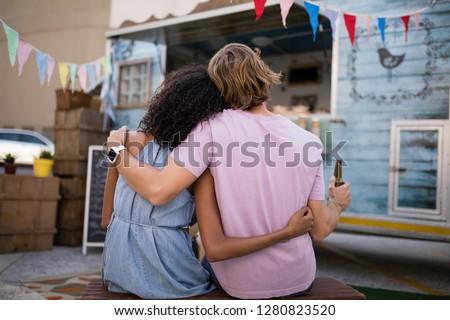 вид сзади романтические пару сидят продовольствие Сток-фото © wavebreak_media