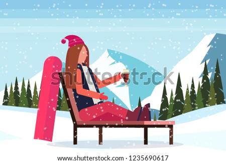 Nő síelő megnyugtató társalgó szék síel Stock fotó © boggy