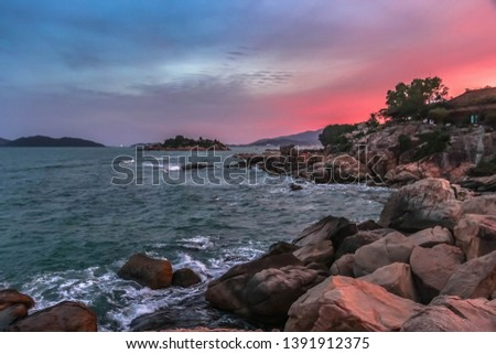 View of the Nha Trang and the hills from Hon Chong cape, Garden stone, popular tourist destinations  Stock photo © galitskaya