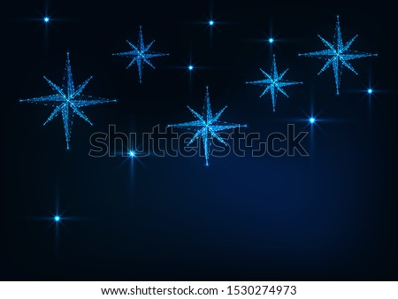 Starry sky with glowing nativity stars web banner template for Christmas on dark blue background. Stock photo © inkoly