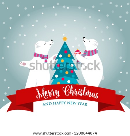 Christmas card with polar bear that adorns  the Christmas tree Stock photo © balasoiu