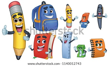 School supplies Cartoon characters set collection Vector watercolor. Notebook pen and ruler funny ch Stock photo © frimufilms
