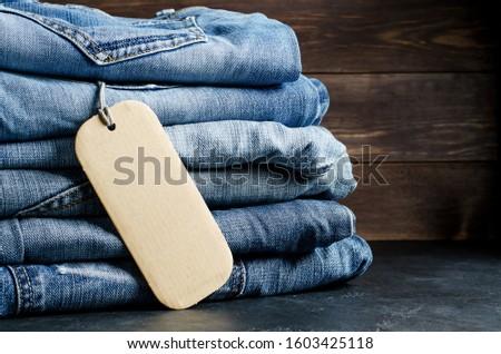 Signe vente pantalon noir jeans espace de copie black friday Photo stock © Illia