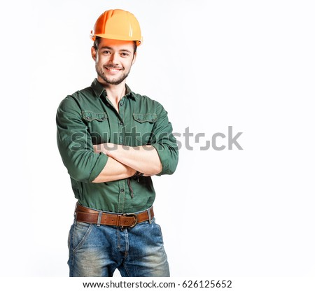 Portrait of young successful builder in white hardhat and workwear in isolation Stock photo © pressmaster