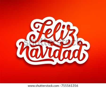 Feliz Navidad - Calligraphy phrase for Christmas with red warm winter gloves Stock photo © Zsuskaa