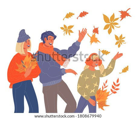 Young family walking in the park autumn Vector. Fall season life Stock photo © frimufilms
