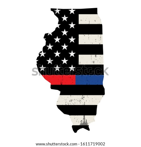 State of Illinois Police and Firefighter Support Flag Illustrati Stock photo © enterlinedesign