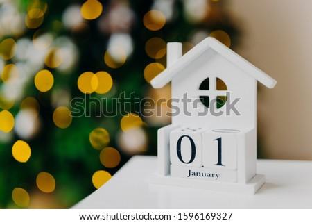 創造 白い家 書かれた 日付 ツリー ストックフォト © vkstudio