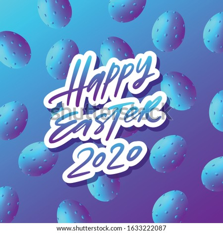 Trendy poster with colorful eggs with red bow and ribbon. Hand drawn calligraphy happy Easter. Decor Stock photo © wywenka