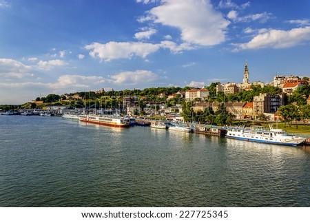 Kalemegdan. View of  Sava river and Belgrade cityscape from Kale Stock photo © xbrchx