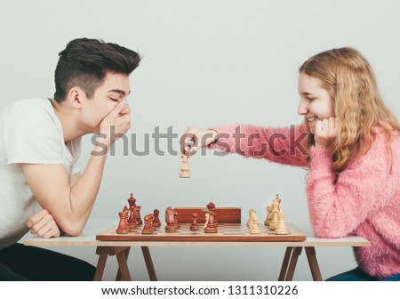 Checkmate. Boy is surprised by last move his opponent in chess g Stock photo © przemekklos