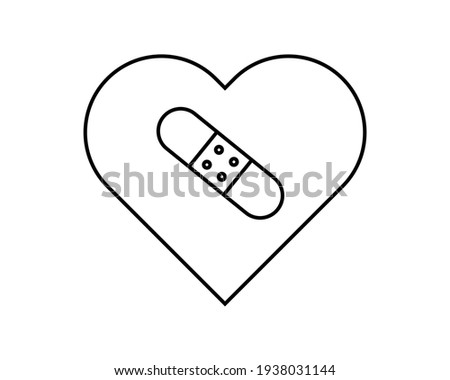 The broken heart is glued together with a plaster isolated on a white background. Vector cartoon clo Stock photo © Lady-Luck