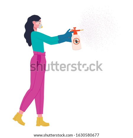 A girl in a protective mask, glasses and gloves spray an antiseptic to prevent infection. Stock photo © ruslanshramko