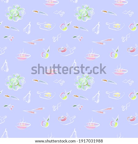 Cute seamless background with apple, pear, carrot, cherry and ba Stock photo © ShustrikS